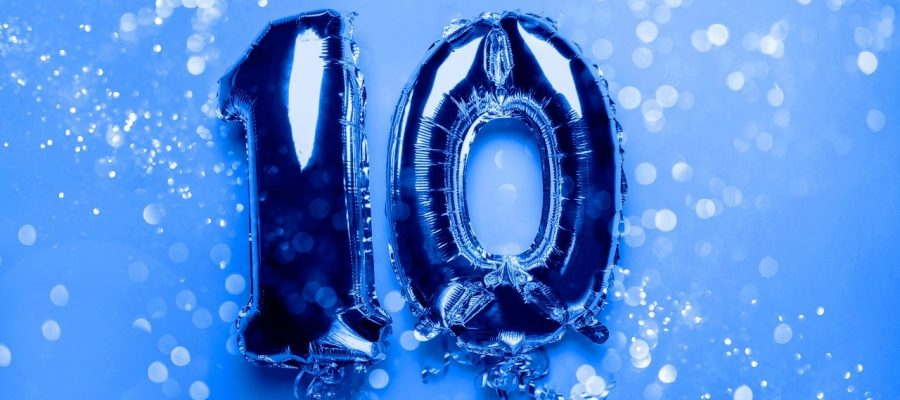 Silver Number Balloons 10